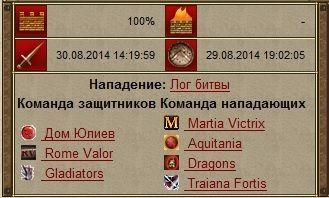 31.08.2014 19:00 Тип боя: Атака виллы/замка Gladiators 2