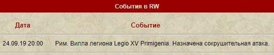 Legio XV Primigenia. Потеря Римской виллы.(24.09.2019) 2